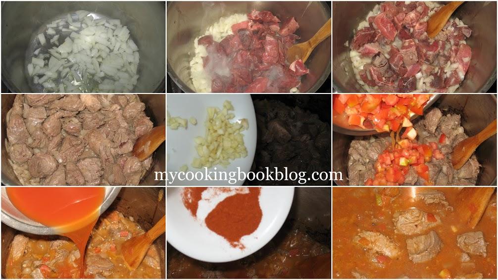 Гювеч (Youvetsi) с младо телешко, Орзо и домати