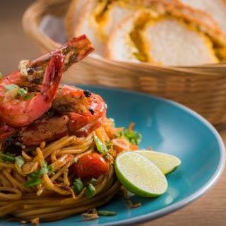 Sambal Spaghetti with Grilled Prawns.