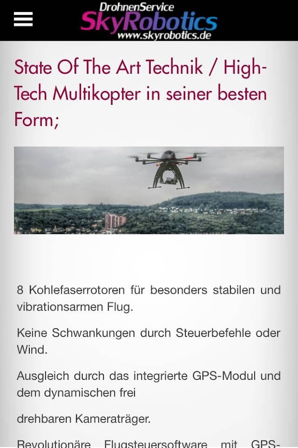 Skyrobotics App – Screenshot