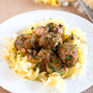 Salisbury Steak Meatballs with Mushroom Gravy.