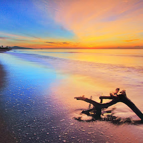Watercolor by Andrew Supit - Landscapes Beaches
