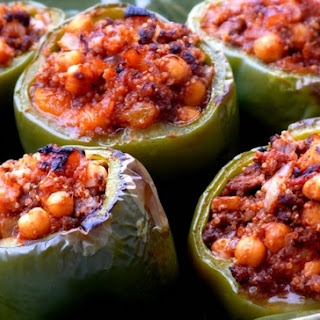 Beef-Quinoa Stuffed Peppers ~ Mediterranean Style