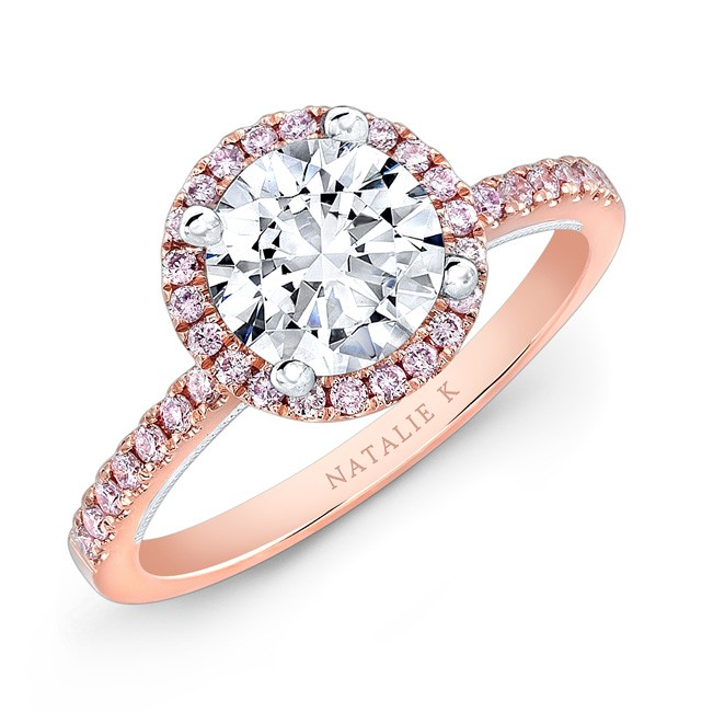 18k Rose and White Gold Pink Diamond Halo White Diamond Gallery Engagement Ring by Natalie K
