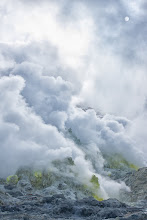 Photo: Sulphuric steam pours out of the volcanic vents at Iouzan (Sulphur Mountain).
