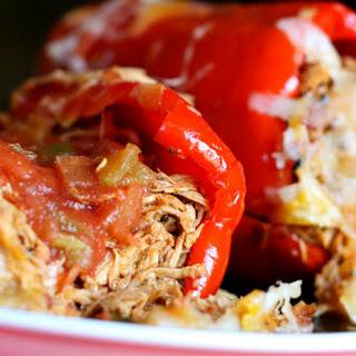 Mexican Pulled Chicken Stuffed Peppers.