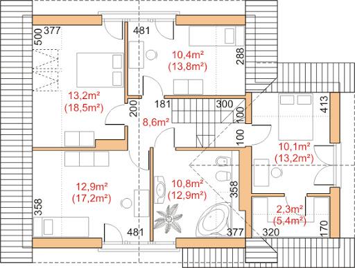 Dom przy Cyprysowej 9 - Rzut poddasza