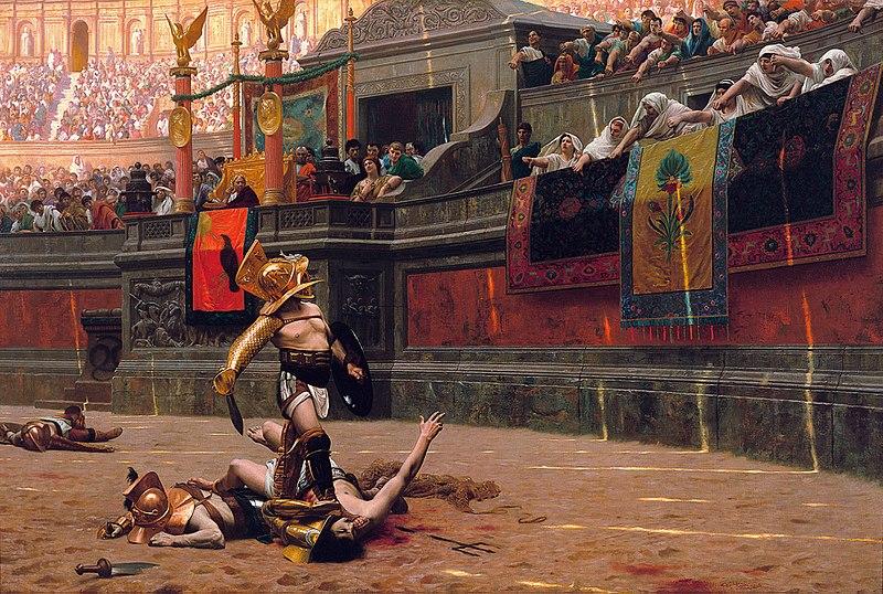 """Pintura sobre a prática romana do """"Pão e Circo""""."""