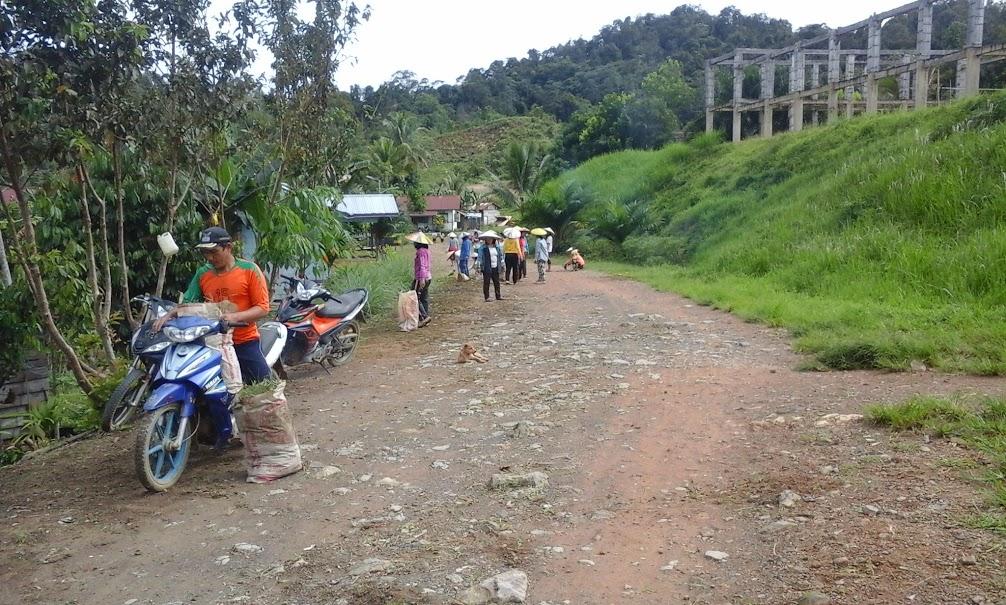 Suasana kerja bakti di lingkungan Desa Long Nawang. Pekerjaan ini dilakukan oleh laki-laki dan perempuan. (Foto: Yudha PS)