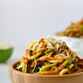 Zucchini Noodles with Sun-Dried Tomato Pesto.