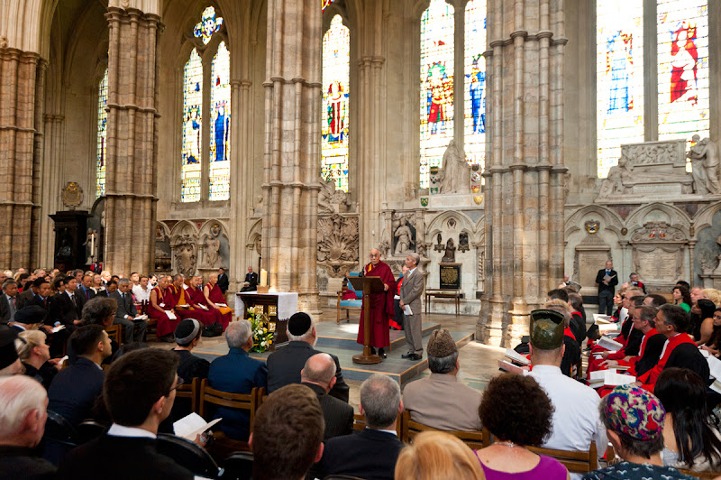 Photo: His Holiness the Dalai Lama addresses the congregation including representatives from different religious groups during a service of prayer and reflection at Westminster Abbey in London, England, on June 20, 2012. Photo/Ian Cumming
