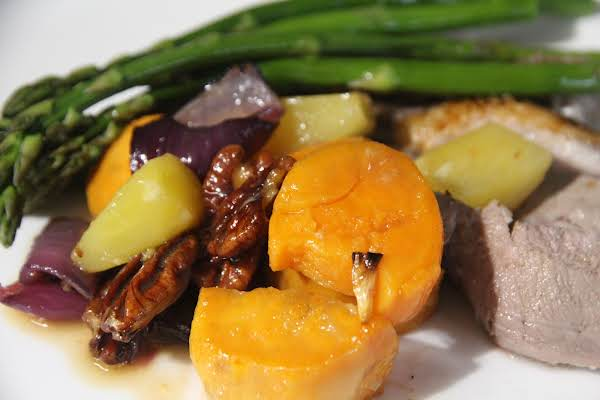 Roasted Sweet Potatoes With Pineapple & Pecans Recipe
