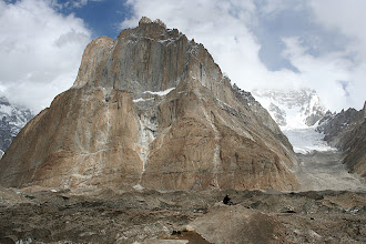 Photo: Cathedral Tower (5866m) from Urdukas, seen across the 3km wide moraine covered Baltoro Glacier.