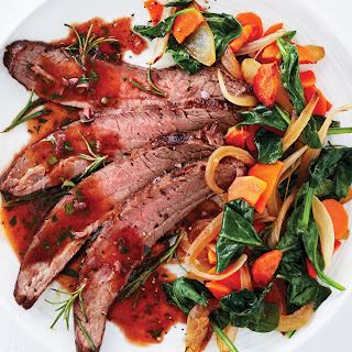 Red Wine Steak with Caramelized Vegetables.