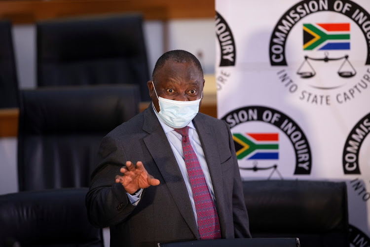 President Cyril Ramaphosa at the Zondo commission in Johannesburg on April 29 2021. Picture: REUTERS/KIM LUDBROOK