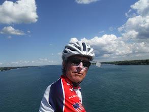 Photo: Pat, on bridge crossing Niagara river to Grand Island
