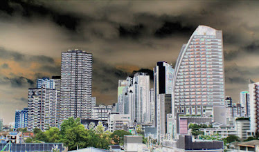 Photo: view from Asoke sky train platform, special effect Photoshop