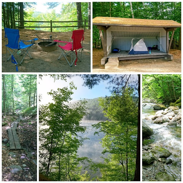 Collage: campsite and trails