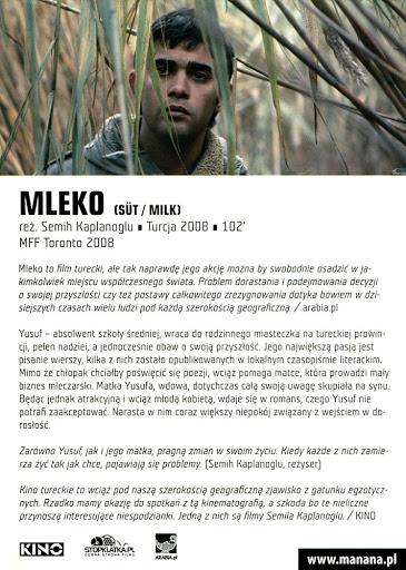 Tył ulotki filmu 'Mleko'