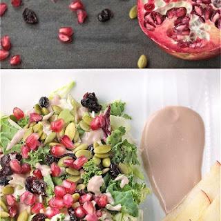 Harvest Salad with Creamy Pomegranate Yogurt Dressing.