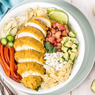 Fajita Hummus Crusted Chicken Salad