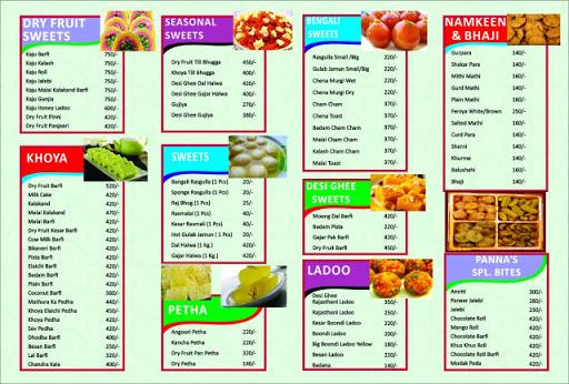 New Panna Sweets menu 2