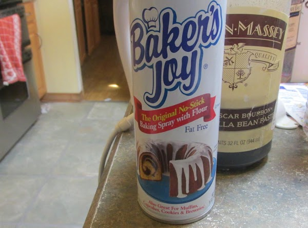 Prepare cake pan by spraying with bakers joy. Pour cake batter into pan and...