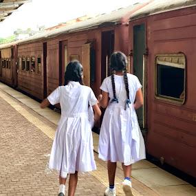 School Girls by Mylene Rizzo - People Portraits of Women ( school girls, sri lanka, train station, girls, train )