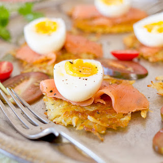 Potato Rosti with Smoked Salmon and Boiled Egg