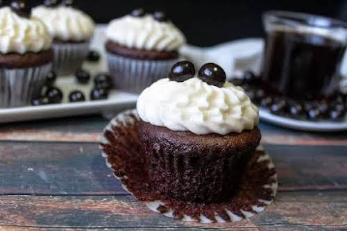 """Chocolate Cupcakes With Coffee Buttercream """"Thanks to sour cream and buttermilk, these..."""