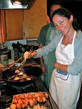 Photo: Emma frying shrimp toast