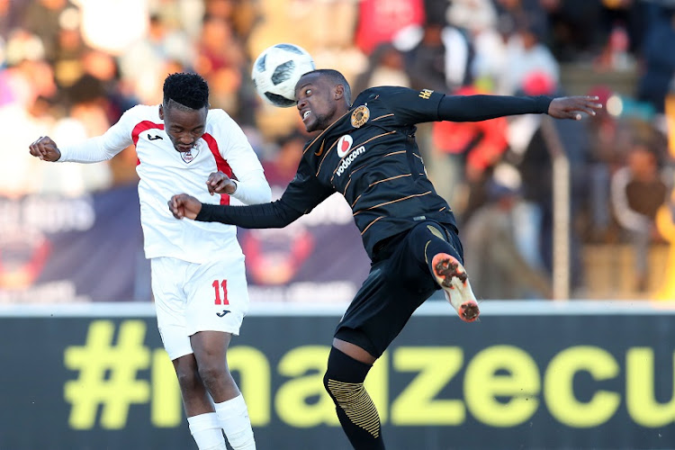 Sinethemba Jantjie of Free State Stars challenged by Lehlohonolo Mirwa of Kaizer Chiefs during the 2018 Maize Cup Final match between Kaizer Chiefs and Free State Stars at the James Motlatsi Stadium, Orkney on 14 July 2018.