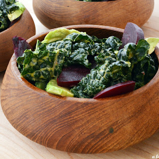 Kale Salad with Beets, Avocado and Creamy Tahini Dressing