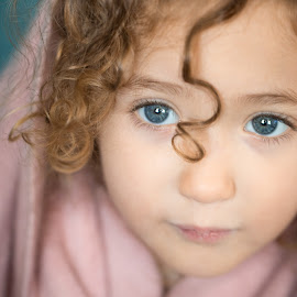 by Mike DeMicco - Babies & Children Child Portraits ( reflection, innocent, little, cute, pretty, portrait, eyes, love, child, curly, blonde, sweet, girl, blue )