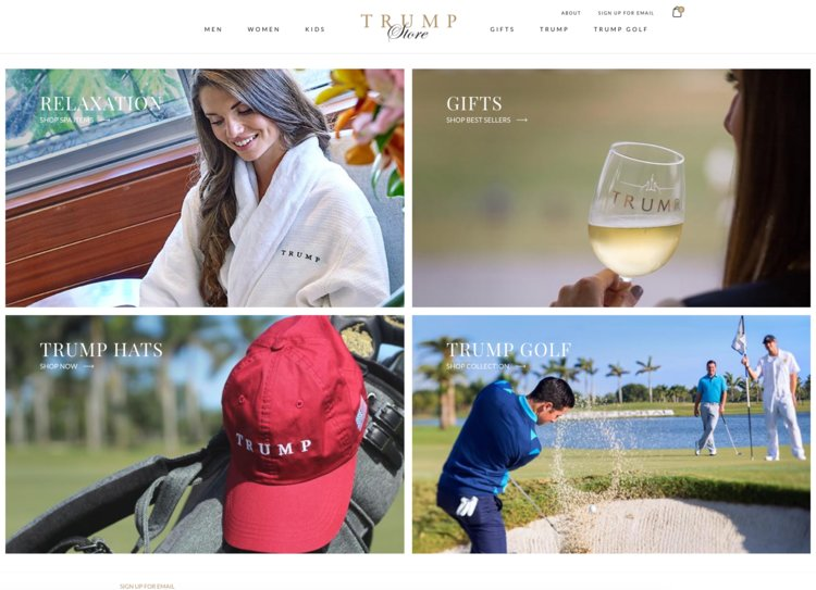 Last year, the Trump Organization opened an online store selling Trump-branded merchandise like keychains and t-shirts, which typically range between $20 and $35, as well as more expensive polo shirts and outerwear that sometimes cost upwards of $100.