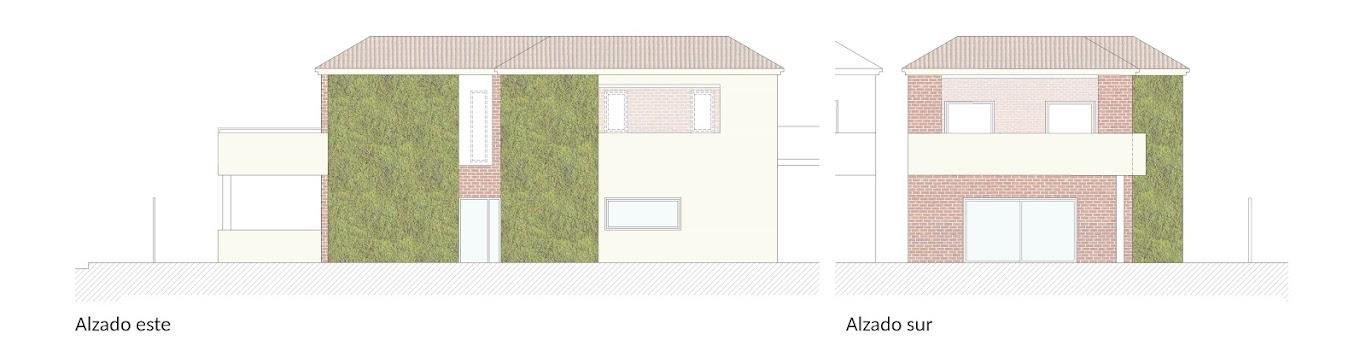 Alzados este y sur de la propuesta de rehabilitación energética vegetal para una vivienda en Valencia