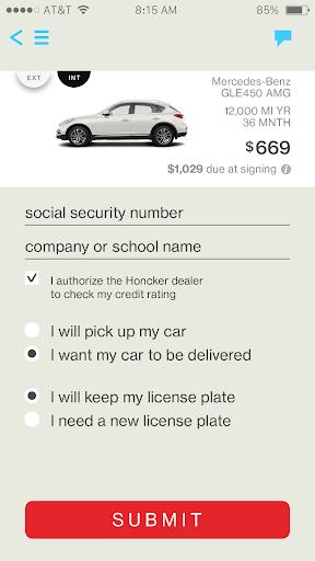 Honcker – Car Leasing App Screenshot
