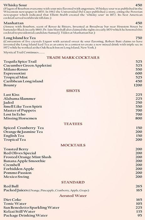 Red Olives menu 1