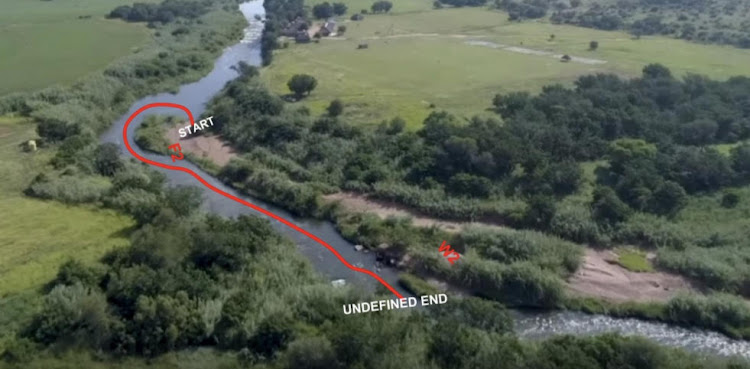 An image contained in the report showing the route taken by pupils on the Crocodile River.