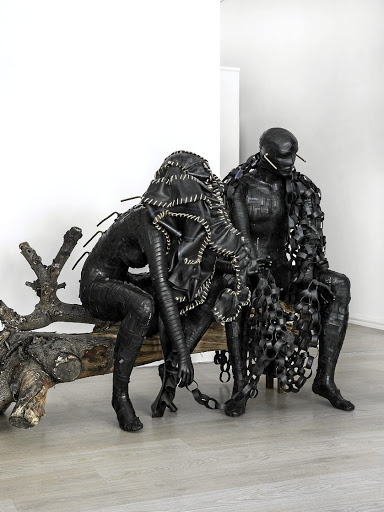 Killing Time features a pair of rubbered mannequins. Congolese artist Patrick Bongoy fled to SA five years ago after a protest art performance in Kinshasa. Picture: KARL ROGERS/MARY CORRIGALL