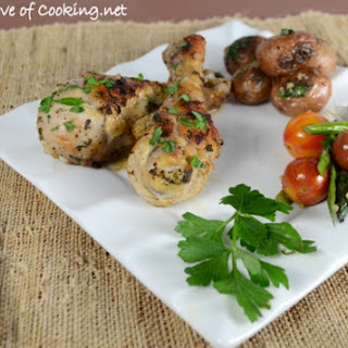 Roasted Herb Chicken Drumsticks with Lemon and Garlic.