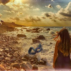 Nostalgia! by Stavros Troullinos - Digital Art People ( water, model, seagull, vintage, sea, nostalgia, nostalgic, portrait,  )