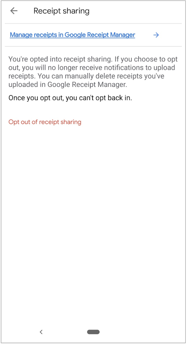 Opinion Rewards: Settings page with links to delete receipts and opt-out.