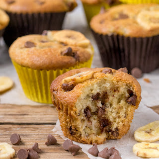 Bakery Style Chocolate Chip Banana Muffins Recipe