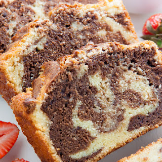 Marble Pound Cake with Macerated Strawberries.