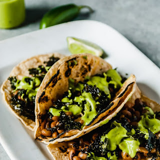 Black Eyed Pea and Kale Tacos with Avocado Jalapeno Sauce.