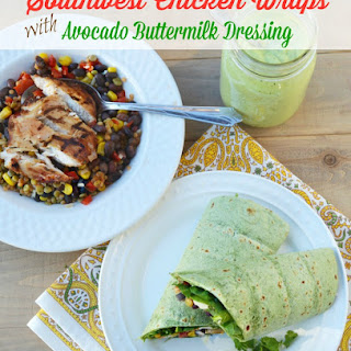 Southwest Chicken Protein Wraps with Avocado Buttermilk Dressing