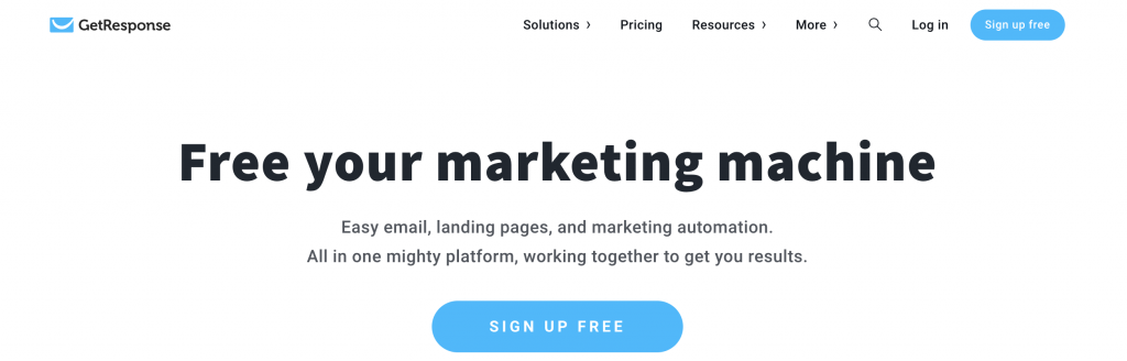 GetResponse plataforma de email marketing e landing page
