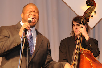 Photo: J.E. McKissic performs with Adonis Rose and Krewe of Swing