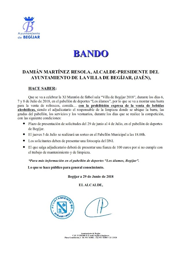 Bando Barra de Bar Maraton 2018