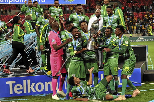 Jubilant Baroka FC players celebrate their victory in the 2018 Telkom Knockout final.